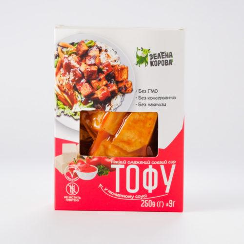 Тофу жареный в томатном соусе